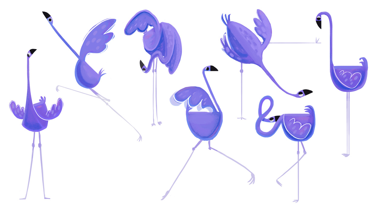 A blue flamingo character in various poses.