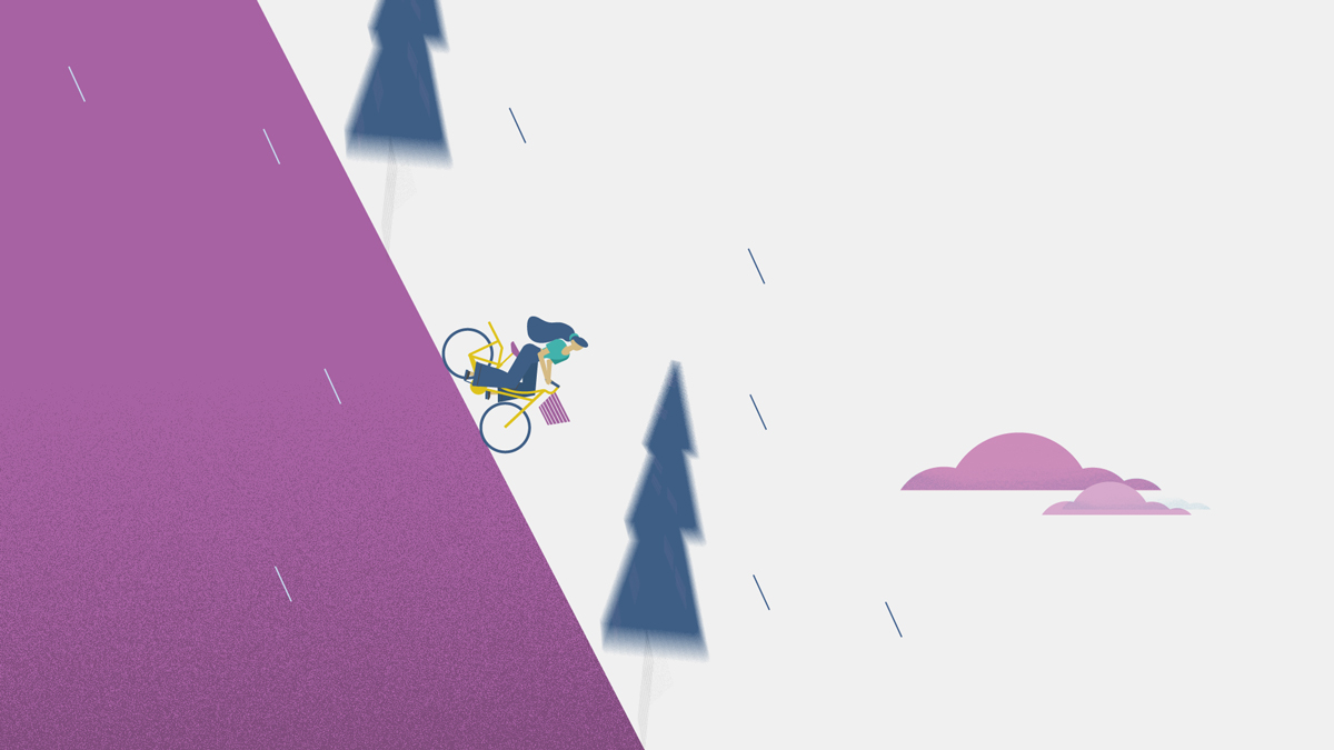 An Illustration of a girl going down a steep hill on a bike.